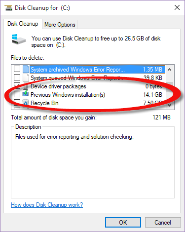 how to remove old windows files from c drive